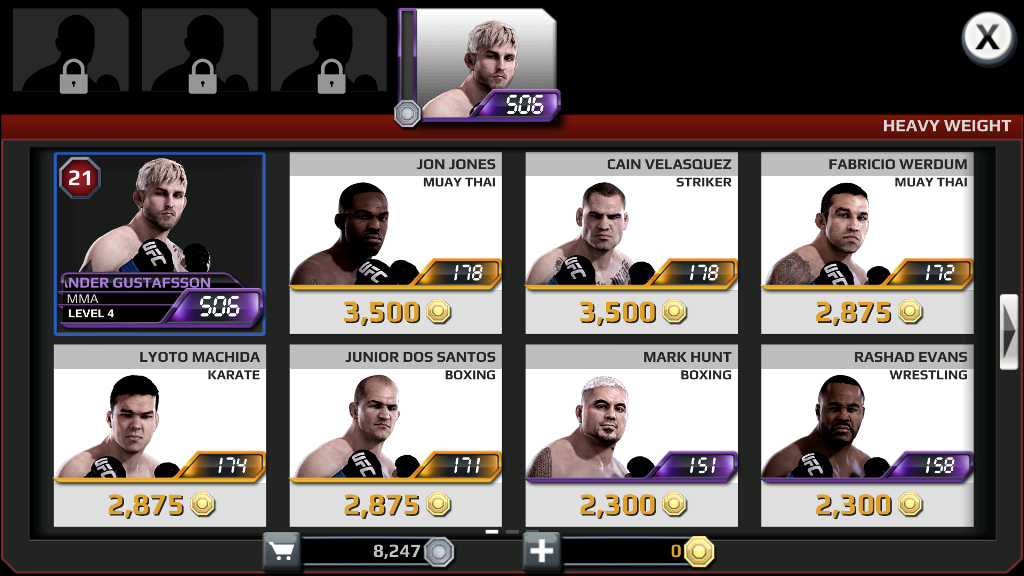 UFC Mobile borci